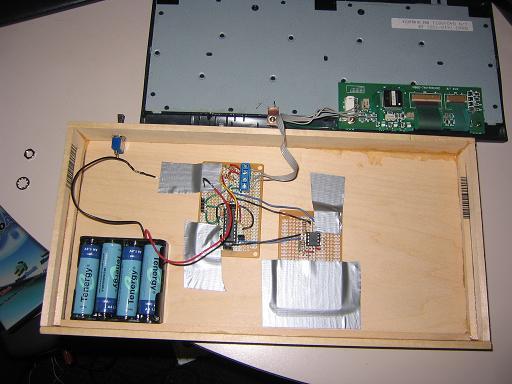Самодельный деревянный ноутбук, внутрености
