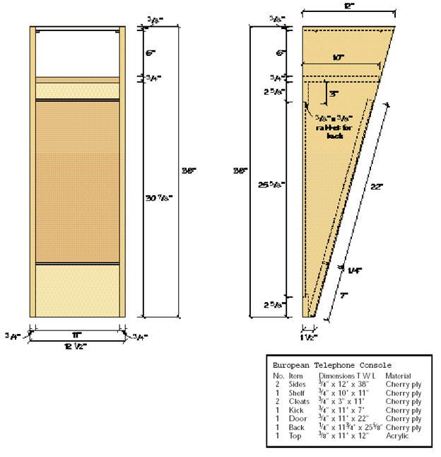 чертежи мебели с размерами