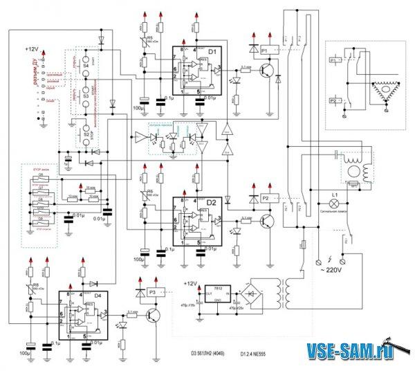 Эта схема позволяет однократным нажатием на кнопку S-1;S-3 START открыть или закрыть ворота, а герконы...