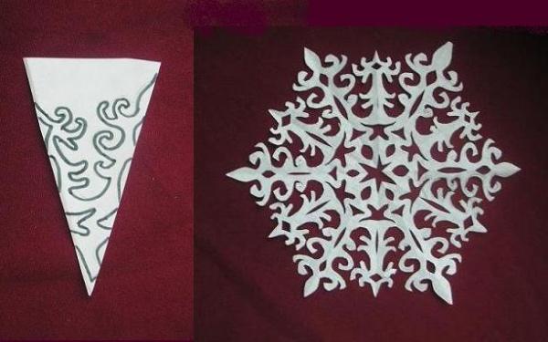 На втором этапе нужно на заготовке вырезать узор по схеме.  От этой работы зависит орнамент снежинки.